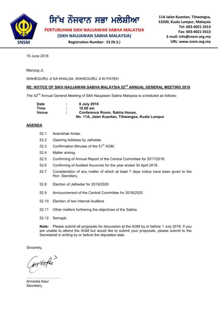 NOTICE OF SIKH NAUJAWAN SABHA MALAYSIA 52