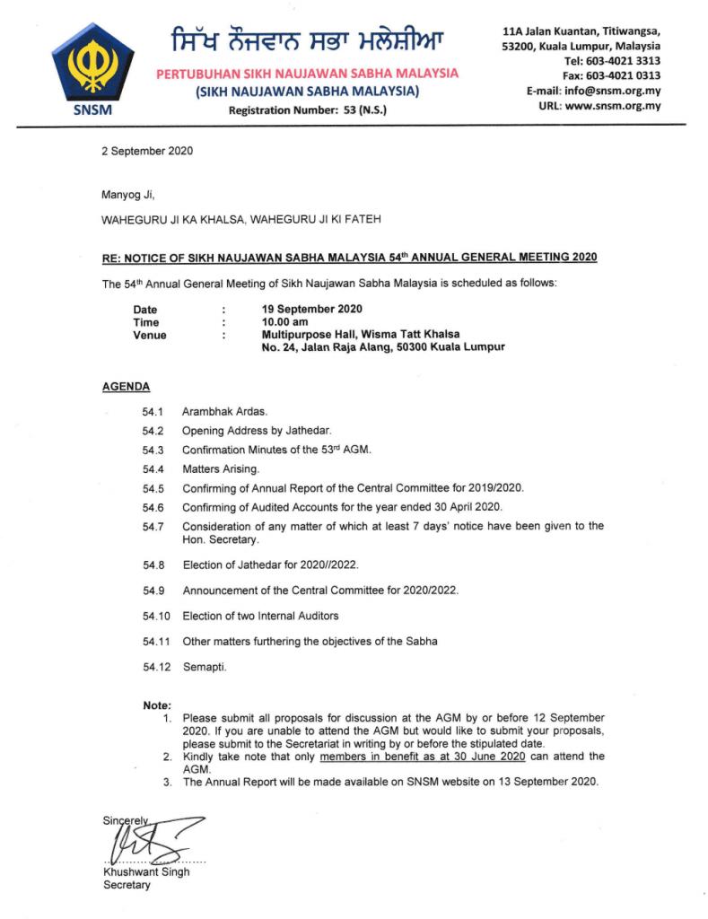 SNSM 54th Annual Ganeral Meeting 2020